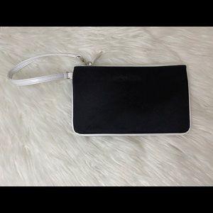 Calvin Klein black and White Canvas Wristlet